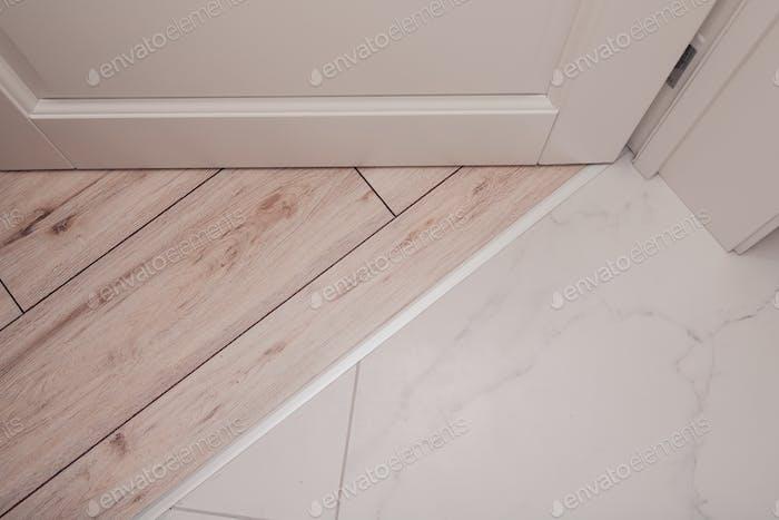 Aluminum threshold between ceramic tiles and parquet