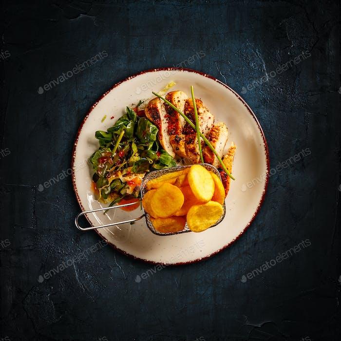 Sliced tender chicken breast grill