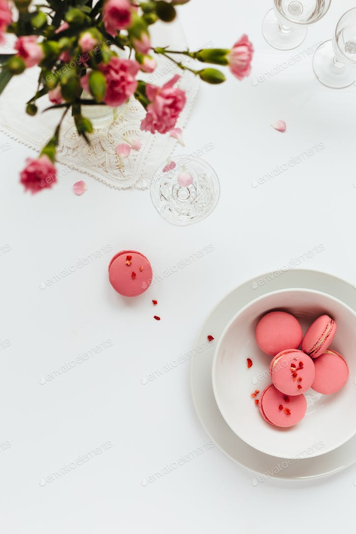 Top View of Pink Macarons