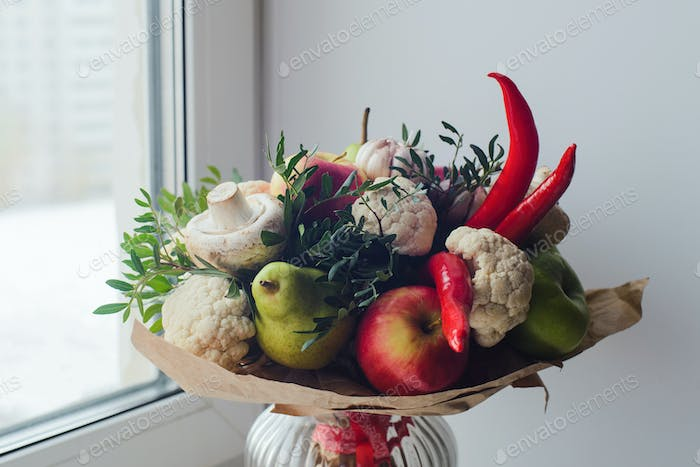 Bouquet of fruits, vegetables and mushrooms