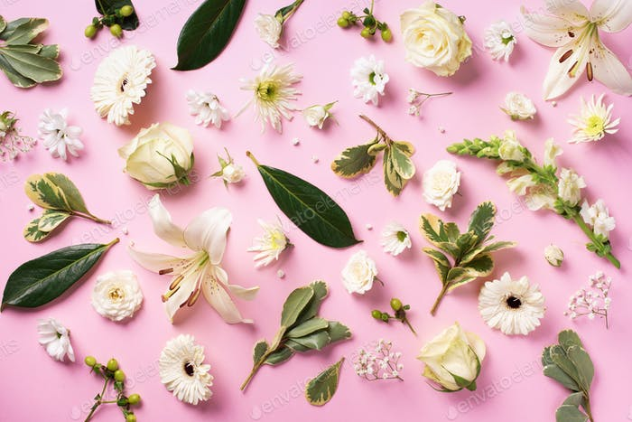 Spring background with lovely blossom white flowers over pink paper. Top view, flat lay. Summer