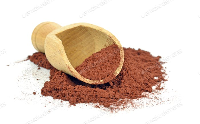 Cocoa Powder and Wooden Scoop