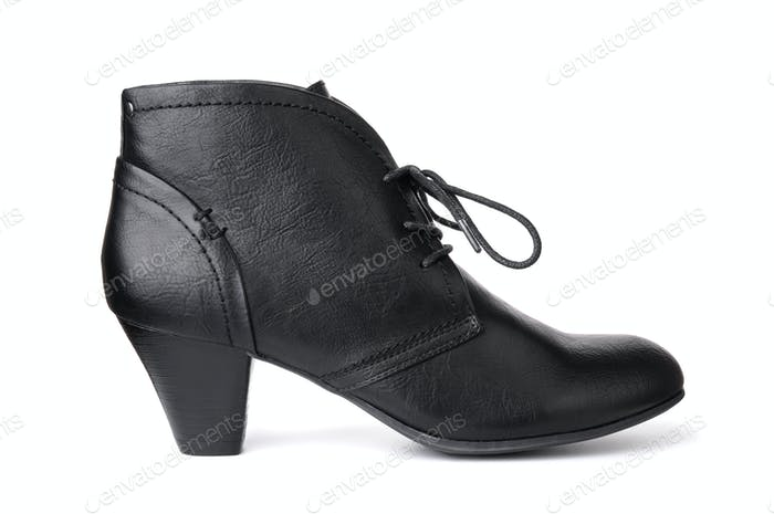 Single black leather women's shoe