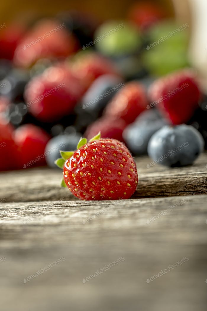 Strawberry in focus with assorted berries