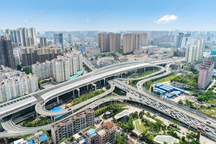 beautiful wuhan city interchange overpass