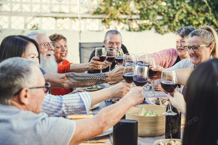 Happy family cheering with red wine at reunion dinner in garden