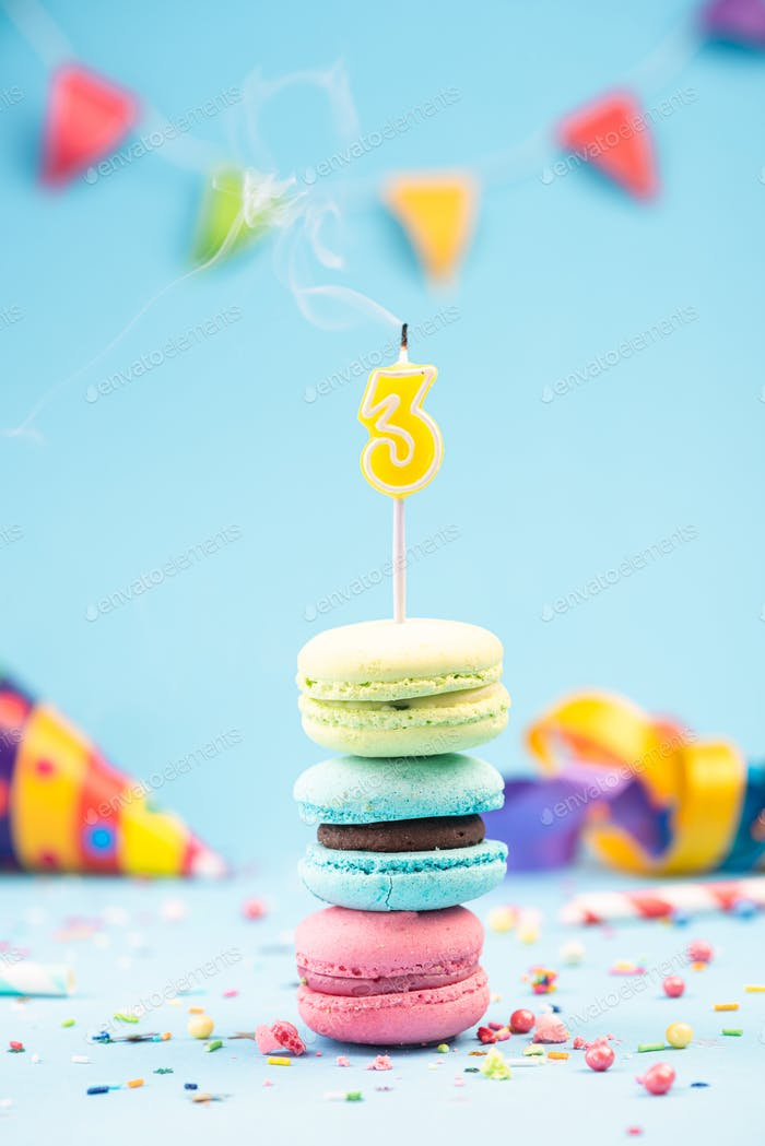 Third 3rd  Birthday Card with Candle Blown Out in Colorful Macar