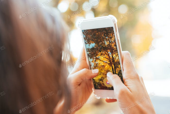 Woman takes a photo of an autumn tree on a street