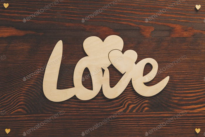 Wood hearts and love text