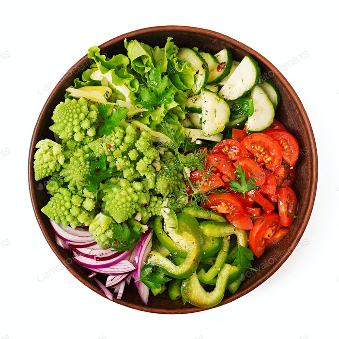 Vegan salad of fresh vegetables and cabbage romanesko.