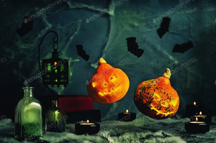 Halloween design with flying pumpkins. Horror background with a