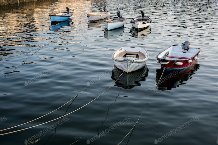 High angle view of fishing boats moored in harbour.