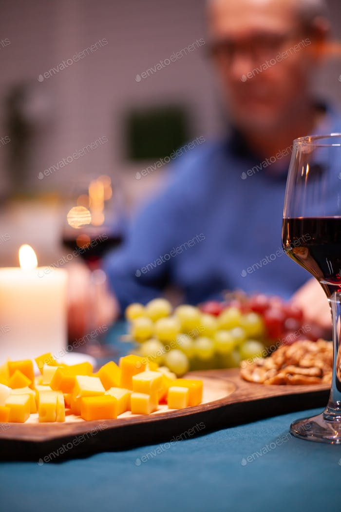 Grapes on wooden plate
