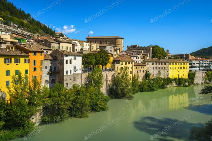 Fossombrone village and and river Metauro. Marche, Italy.