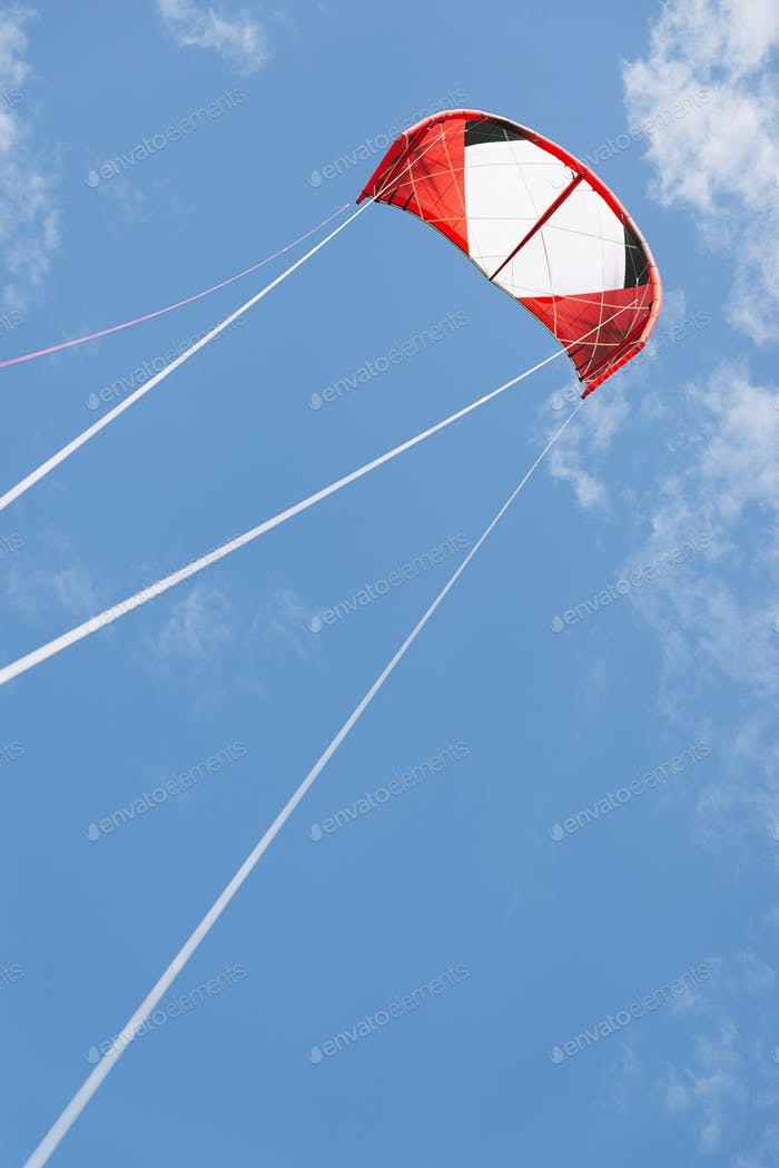 Kite surfing on a sunny day.