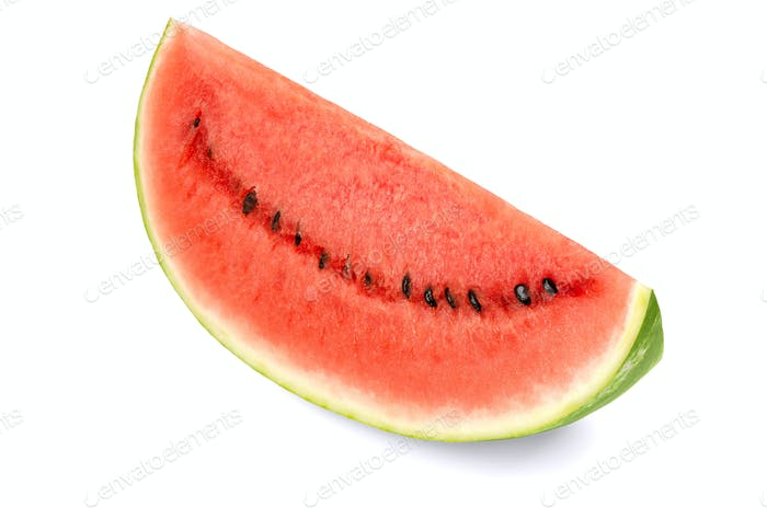Sweet watermelon slice, front view, on white background