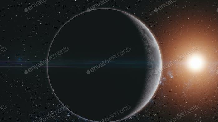 Mond Orbit Oberfläche Sonnenstrahl Glühen Sternengalaxie