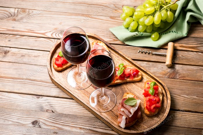 Red Wine and Bruscetta