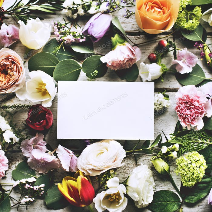 Various Fresh Flowers with Blank Design Space Card