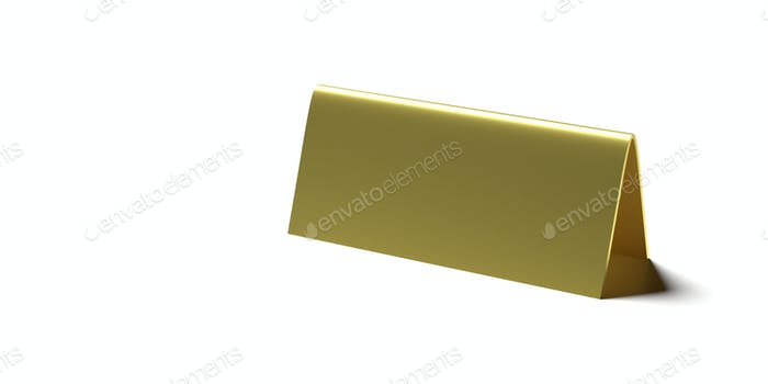 Table tent, reserved card sign empty blank isolated against white background. 3d illustration
