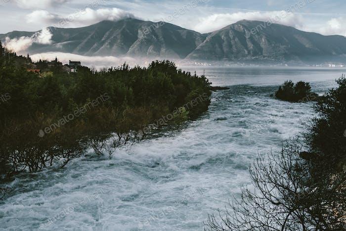 Ljuta river delta in Bay of Kotor in spring time
