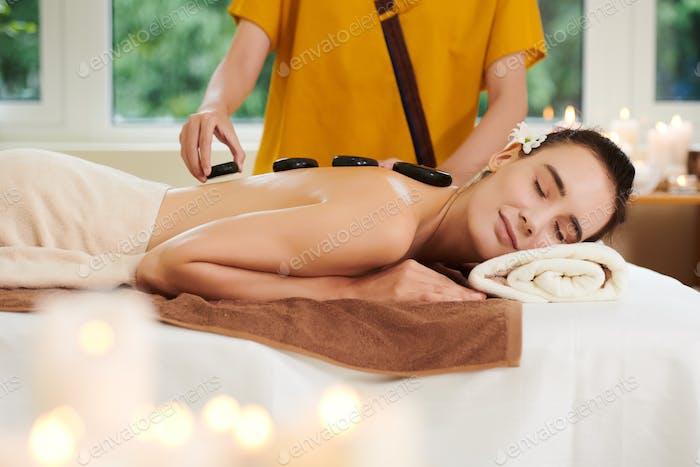 Stone therapy in spa salon
