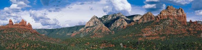Panoramic of Red Rocks in Sedona Arizona