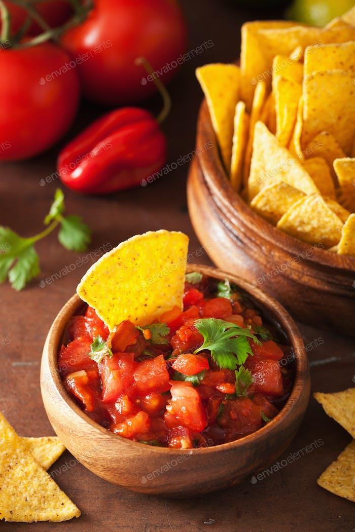 mexican salsa dip and nachos tortilla chips