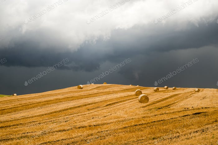 Landscape in Campania (Italy) near Benevento: a storm is coming