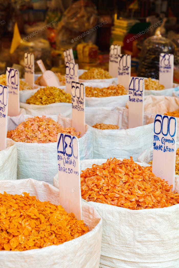 Various Dried Shrimp For Sale At Local Market