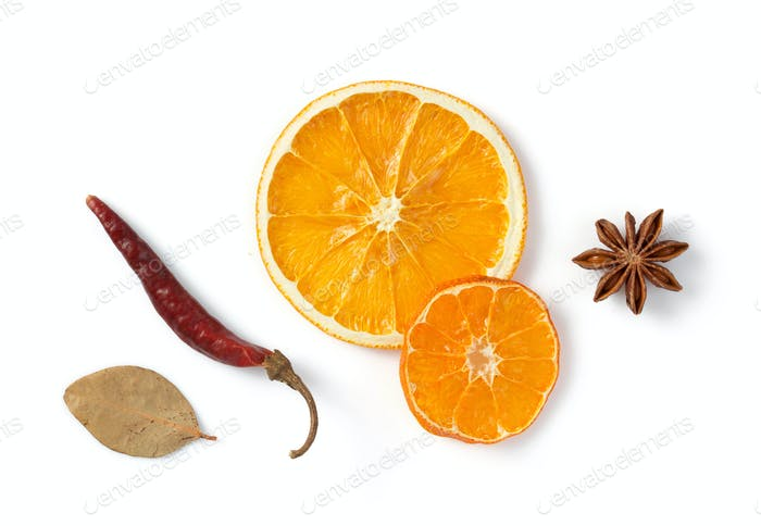 dried fruit and spices isolated on white