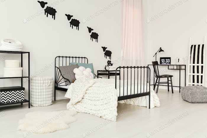 White child's bedroom interior