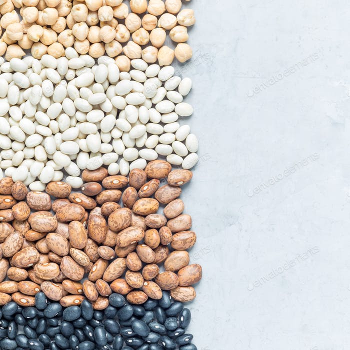 Different kinds of beans: black, pinto, white and chickpeas, on a concrete background, square