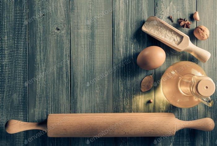 bakery ingredients on wood