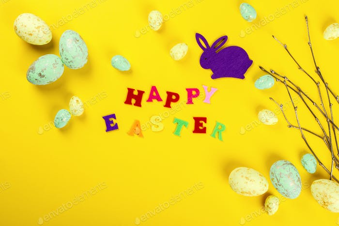 Inscription in colored letters Happy Easter Easter concept.