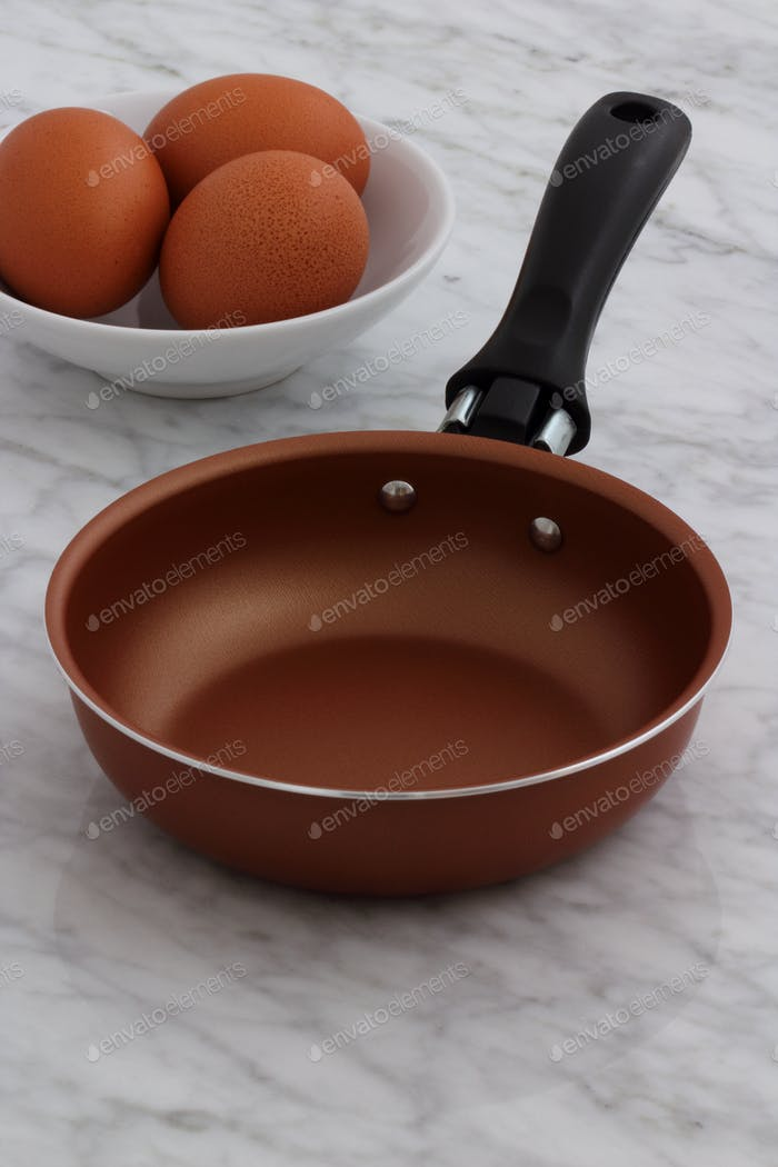 frying pan and eggs on kitchen counter