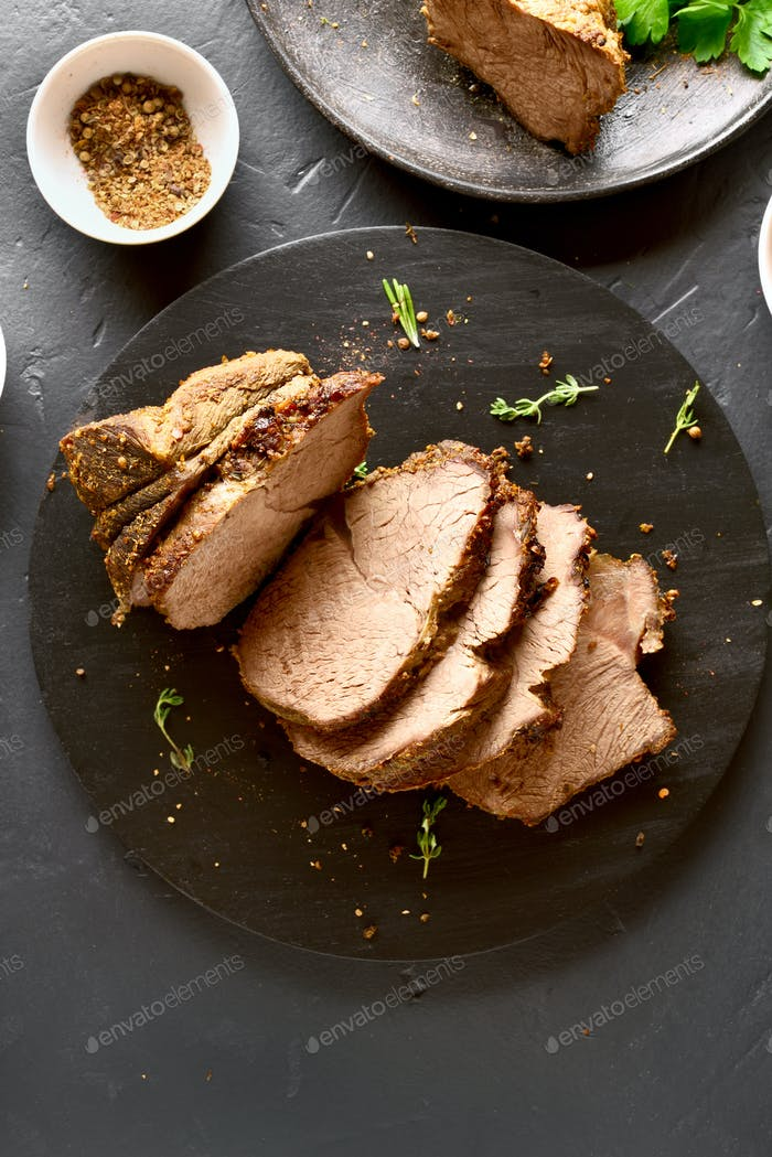 Sliced grilled roast beef