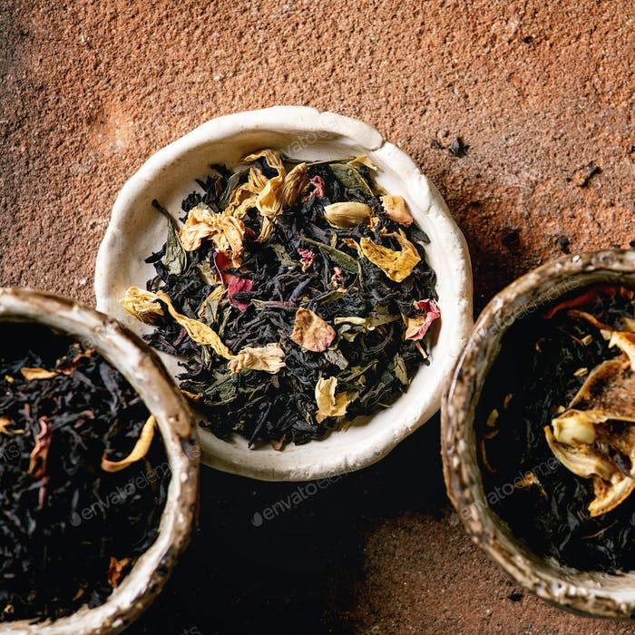 Variety of hot and dry tea