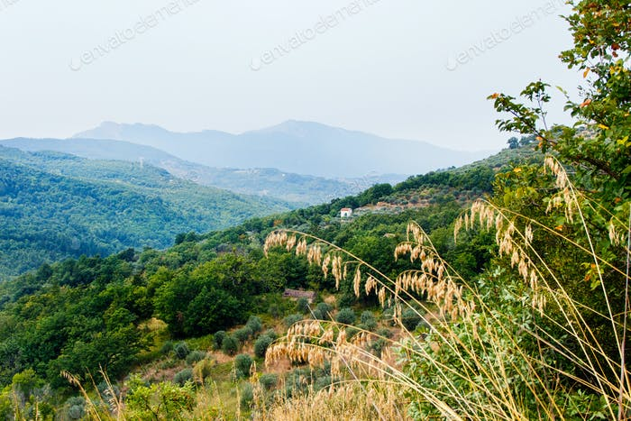 Panoram view of Cilento National Park near Roscigno