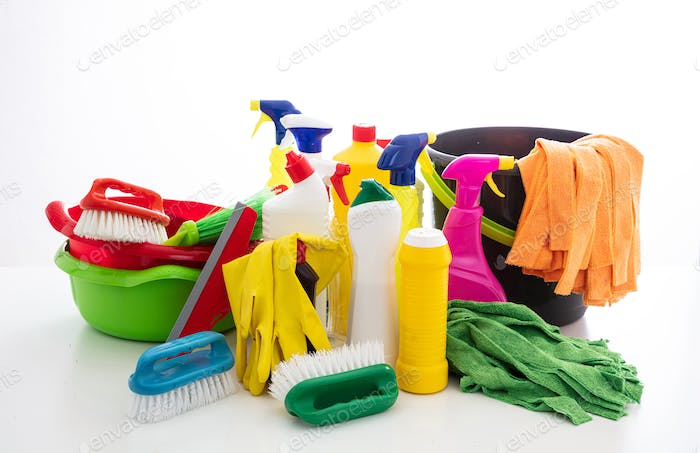 Cleaning supplies and bucket isolated against white background.