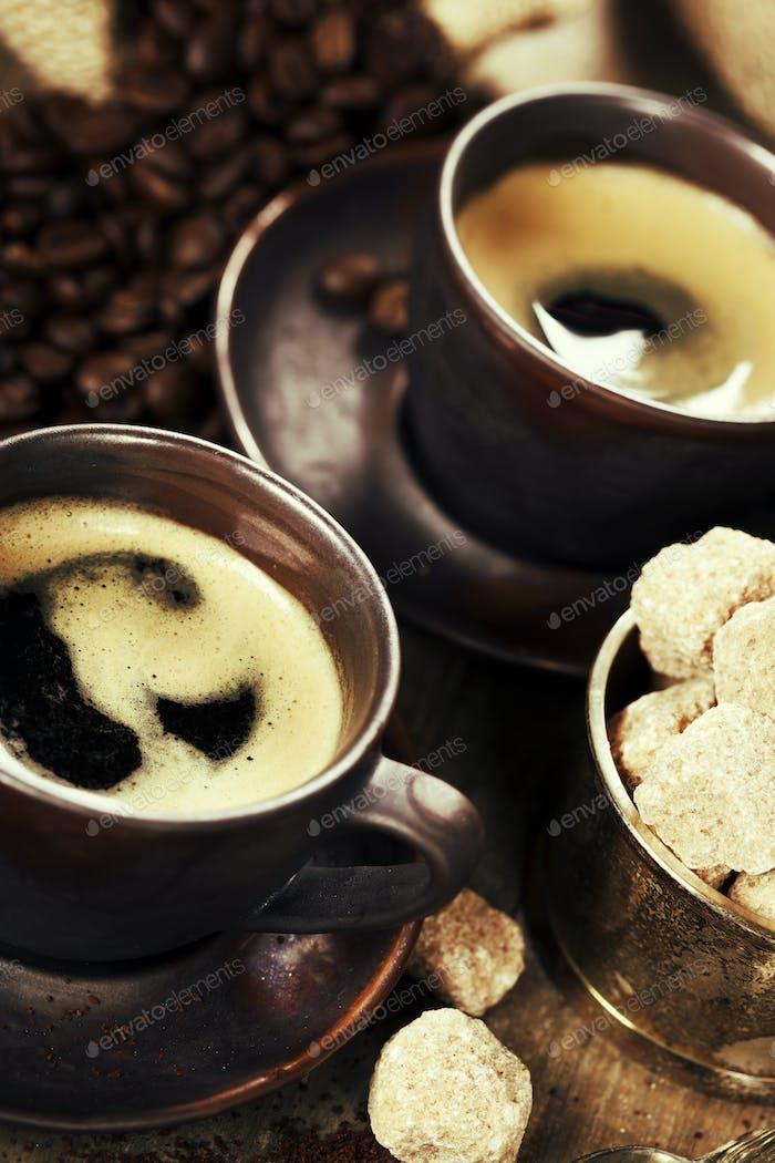 frisch zubereiteter italienischer Espresso