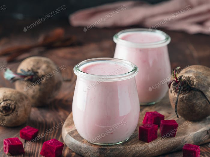 Yogurt with beetroot, copy space, vertical