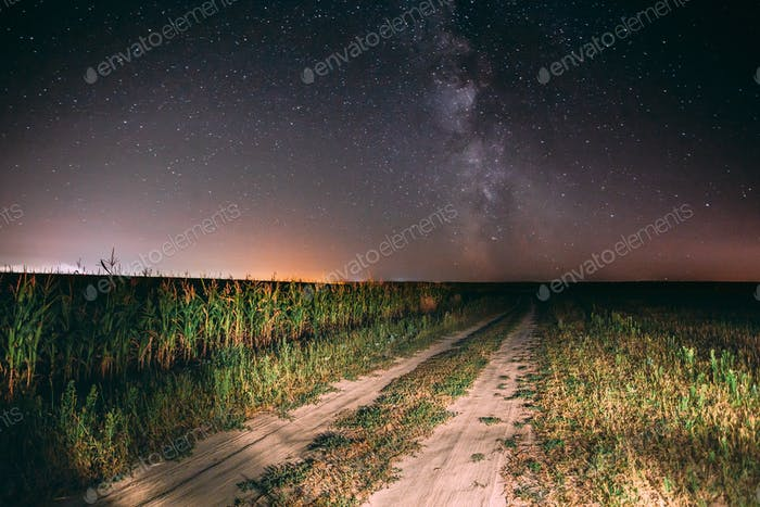 Night Starry Sky With Milky Way Glowing Stars And Country Road I