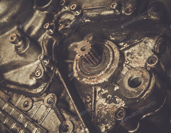 Close-up of an old motorcycle  engine