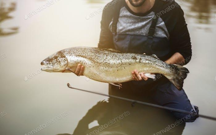 Man caught salmon fish