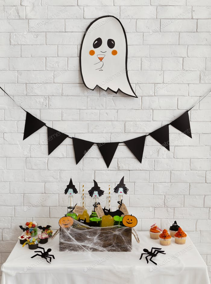 Cute halloween background with ghost, decorations, web and big spiders