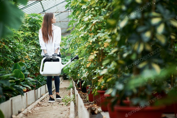 Young girl walks between plants in the greenhouse and holds watering can