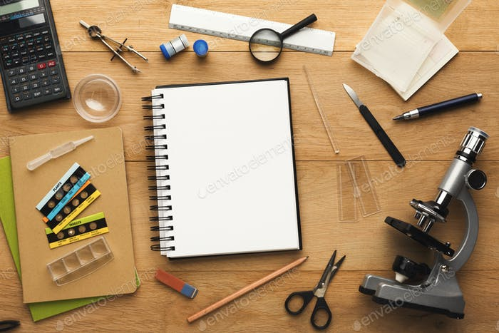 Desktop with various stationery for school education, top view