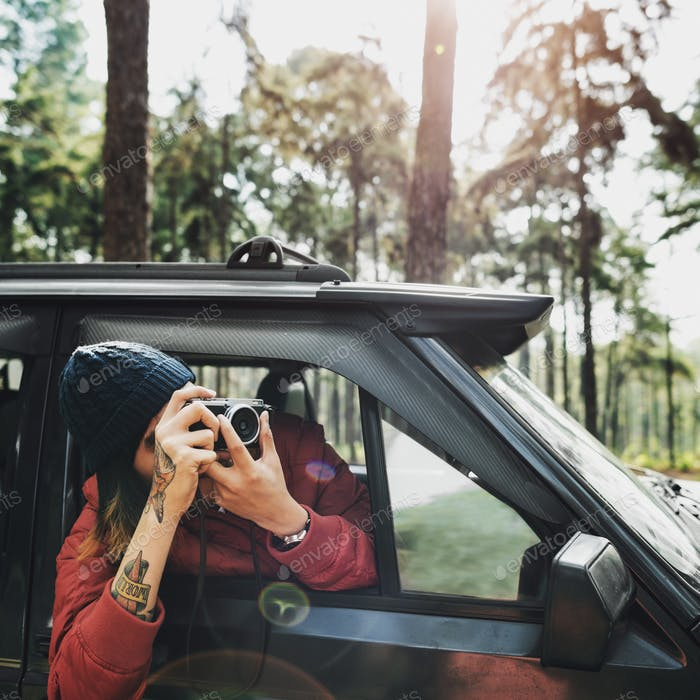Guy Taking Photos Road Trip Concept