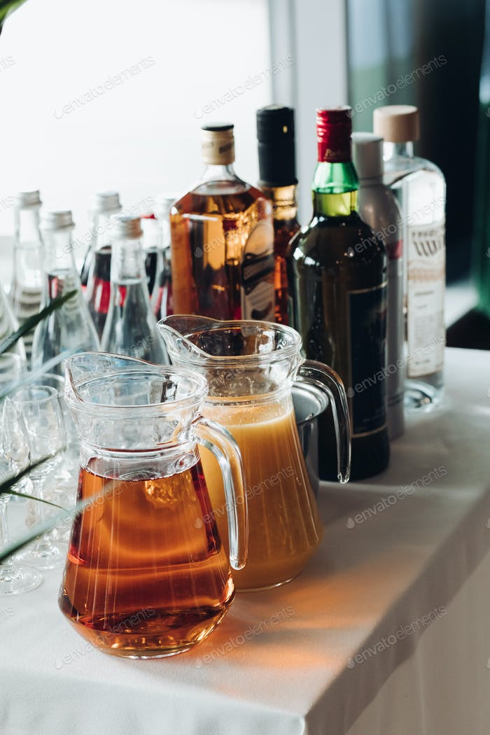 View from side of beverages served on table during party
